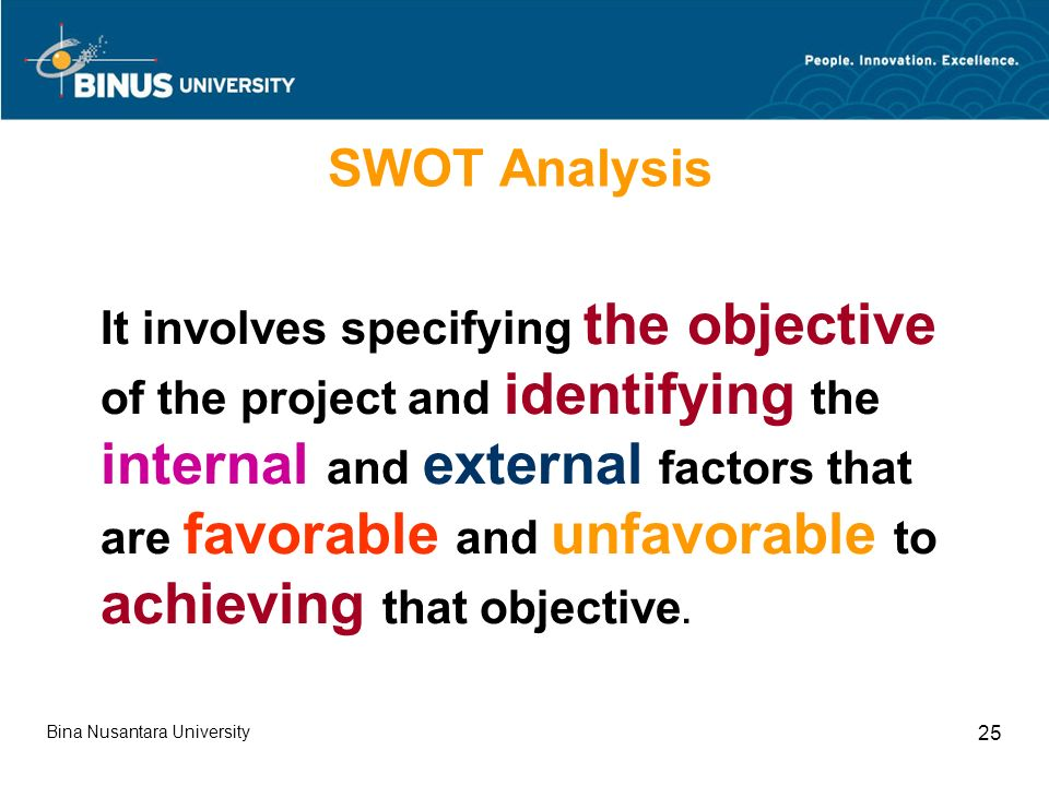 Bina Nusantara University 25 SWOT Analysis It involves specifying the objective of the project and identifying the internal and external factors that are favorable and unfavorable to achieving that objective.