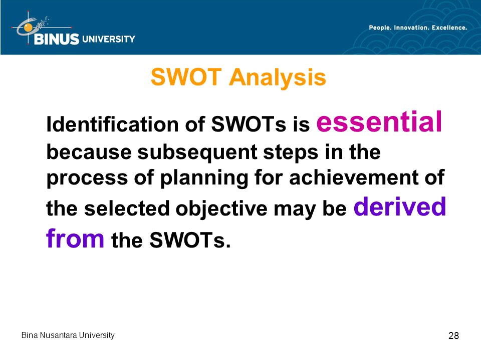 Bina Nusantara University 28 SWOT Analysis Identification of SWOTs is essential because subsequent steps in the process of planning for achievement of the selected objective may be derived from the SWOTs.