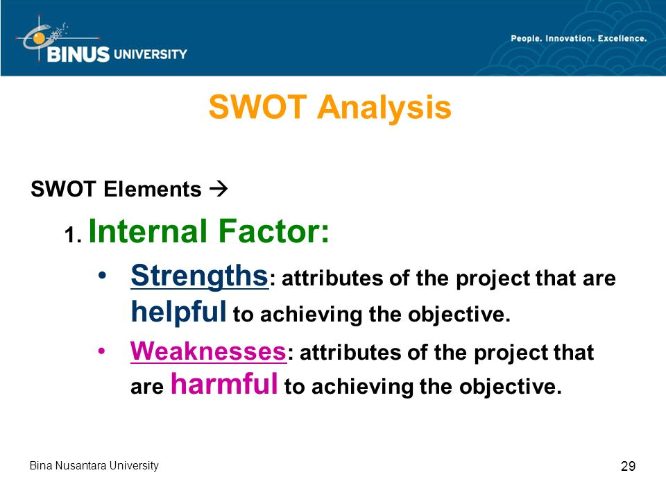 Bina Nusantara University 29 SWOT Analysis SWOT Elements  1.