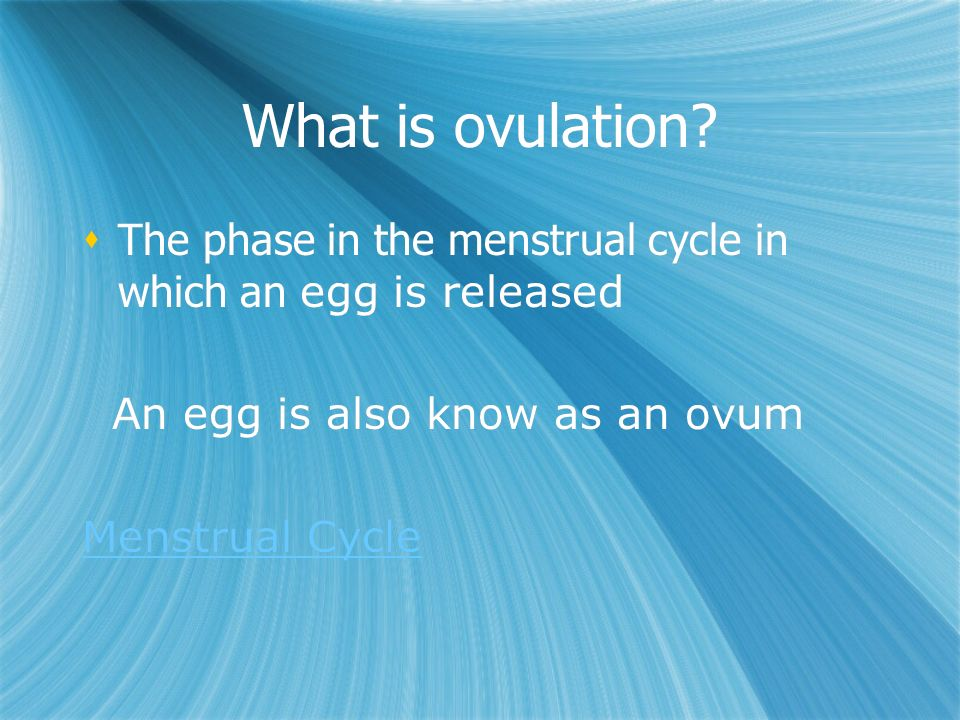 What is ovulation.