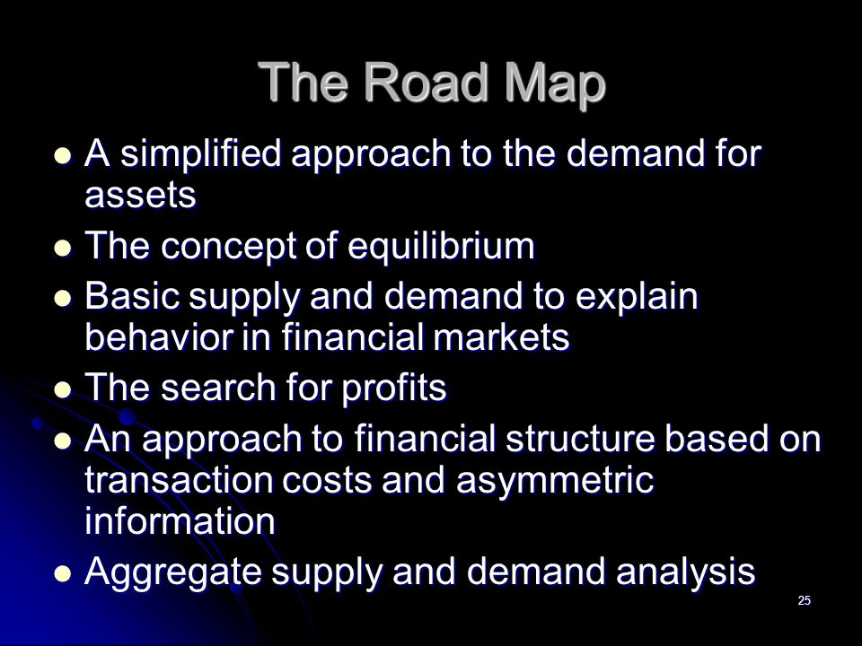 25 The Road Map A simplified approach to the demand for assets A simplified approach to the demand for assets The concept of equilibrium The concept of equilibrium Basic supply and demand to explain behavior in financial markets Basic supply and demand to explain behavior in financial markets The search for profits The search for profits An approach to financial structure based on transaction costs and asymmetric information An approach to financial structure based on transaction costs and asymmetric information Aggregate supply and demand analysis Aggregate supply and demand analysis