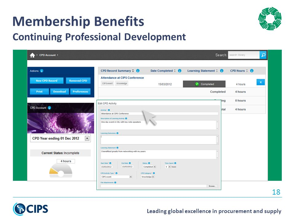 Leading global excellence in procurement and supply 18 Membership Benefits Continuing Professional Development