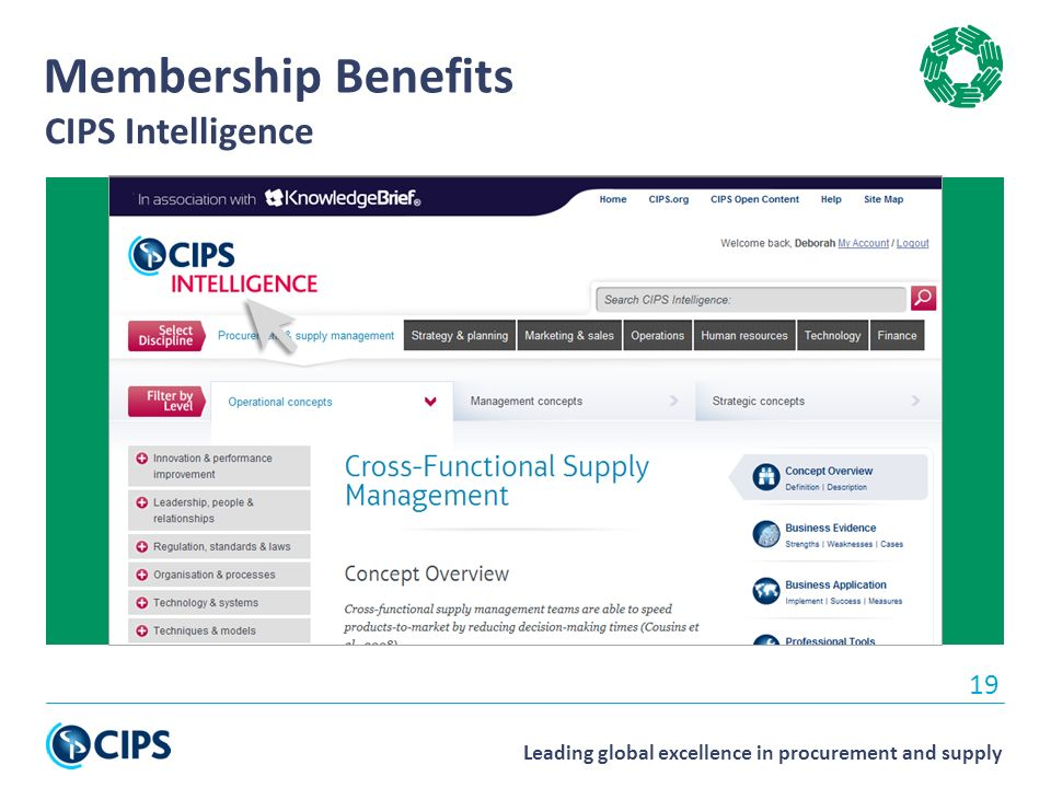 Leading global excellence in procurement and supply 19 Membership Benefits CIPS Intelligence