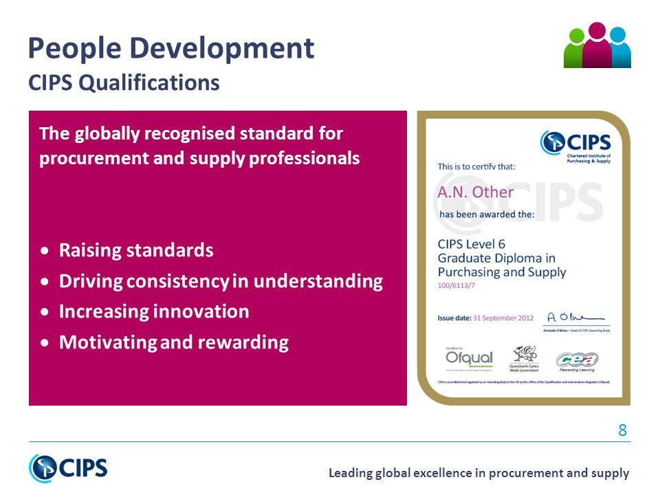 Leading global excellence in procurement and supply The globally recognised standard for procurement and supply professionals  Raising standards  Driving consistency in understanding  Increasing innovation  Motivating and rewarding 8 People Development CIPS Qualifications