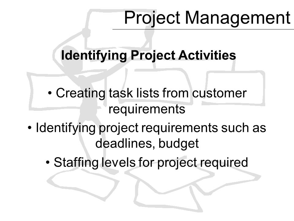 Exceptional 3 Project Management Identifying Project Activities Creating Task Lists  From Customer Requirements Identifying Project Requirements Such As  Deadlines, ...