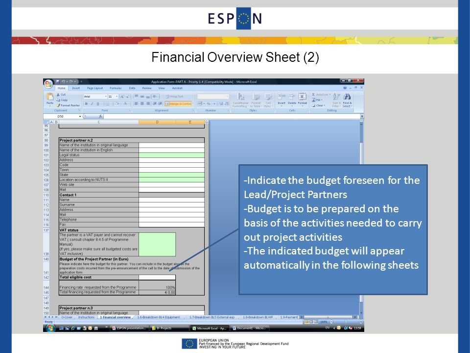 Financial Overview Sheet (2) -Indicate the budget foreseen for the Lead/Project Partners -Budget is to be prepared on the basis of the activities needed to carry out project activities -The indicated budget will appear automatically in the following sheets