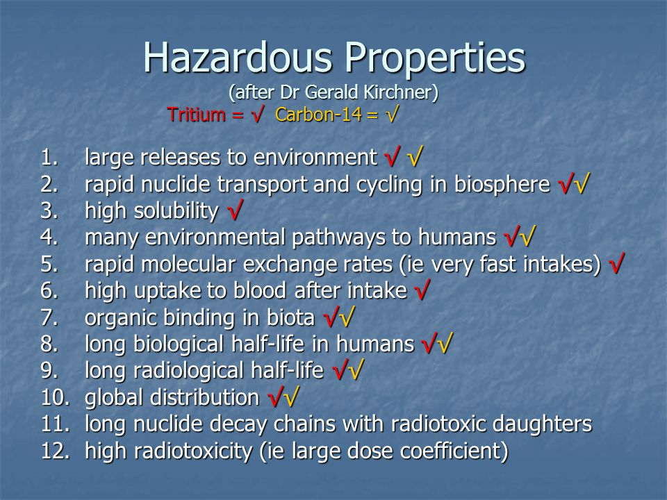 Hazardous Properties (after Dr Gerald Kirchner) Tritium = √ Carbon-14 = √ 1.large releases to environment √ √ 2.rapid nuclide transport and cycling in biosphere √√ 3.high solubility √ 4.many environmental pathways to humans √√ 5.rapid molecular exchange rates (ie very fast intakes) √ 6.high uptake to blood after intake √ 7.organic binding in biota √√ 8.long biological half-life in humans √√ 9.long radiological half-life √√ 10.global distribution √√ 11.long nuclide decay chains with radiotoxic daughters 12.high radiotoxicity (ie large dose coefficient)