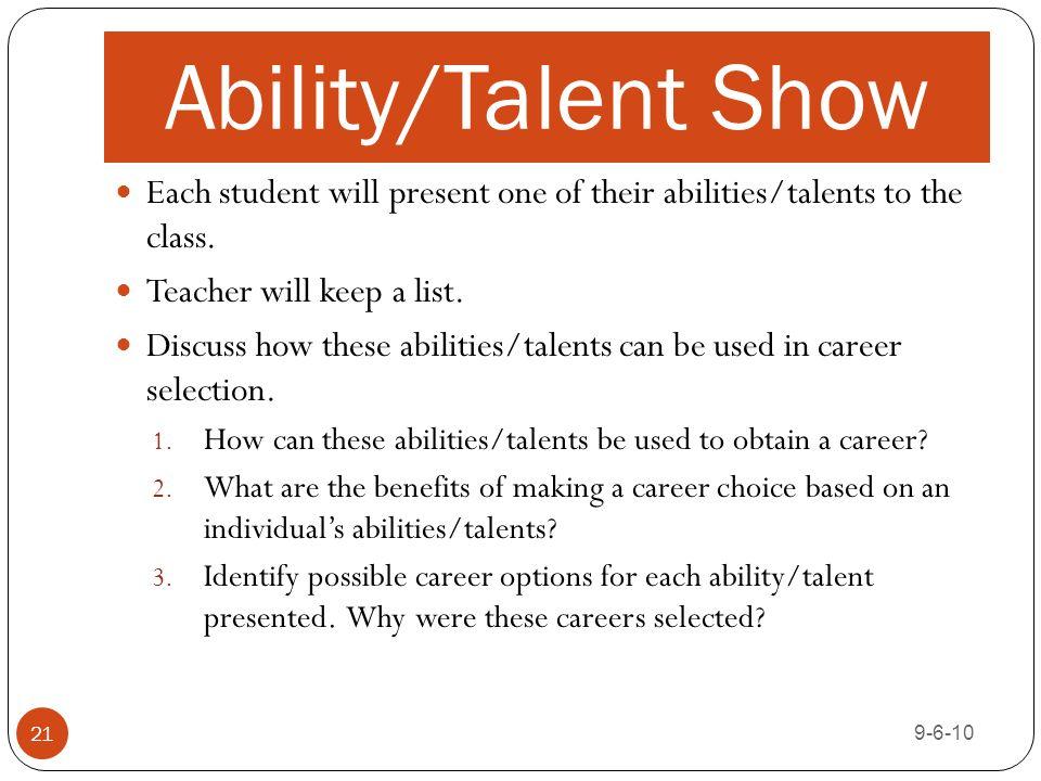 Abilities and talents essay topics