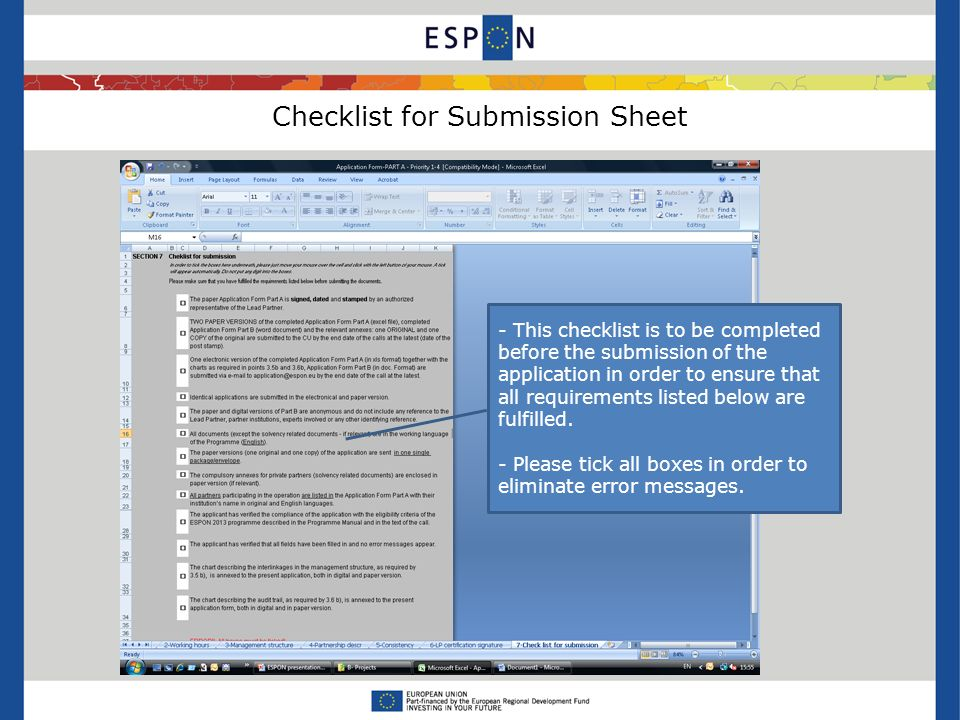 Checklist for Submission Sheet - This checklist is to be completed before the submission of the application in order to ensure that all requirements listed below are fulfilled.