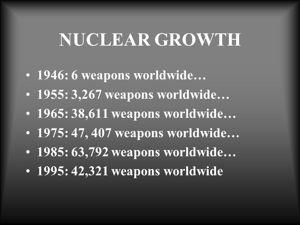 NUCLEAR GROWTH 1946: 6 weapons worldwide… 1955: 3,267 weapons worldwide… 1965: 38,611 weapons worldwide… 1975: 47, 407 weapons worldwide… 1985: 63,792 weapons worldwide… 1995: 42,321 weapons worldwide