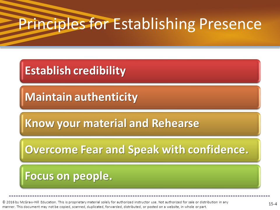 Principles for Establishing Presence © 2016 by McGraw-Hill Education.