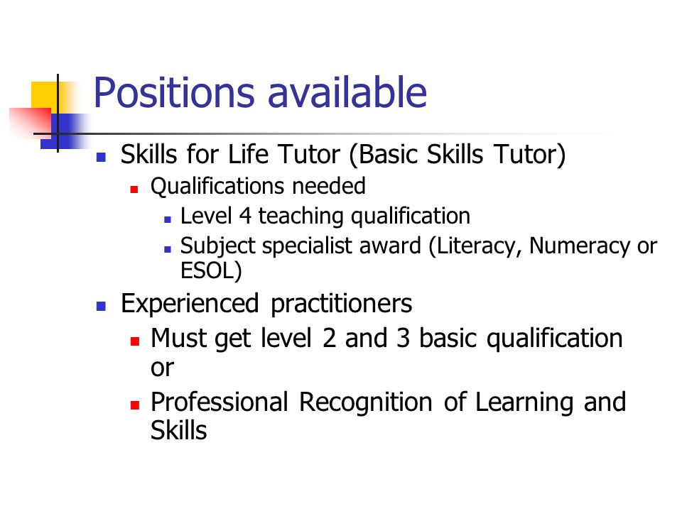 Positions available Skills for Life Tutor (Basic Skills Tutor) Qualifications needed Level 4 teaching qualification Subject specialist award (Literacy, Numeracy or ESOL) Experienced practitioners Must get level 2 and 3 basic qualification or Professional Recognition of Learning and Skills