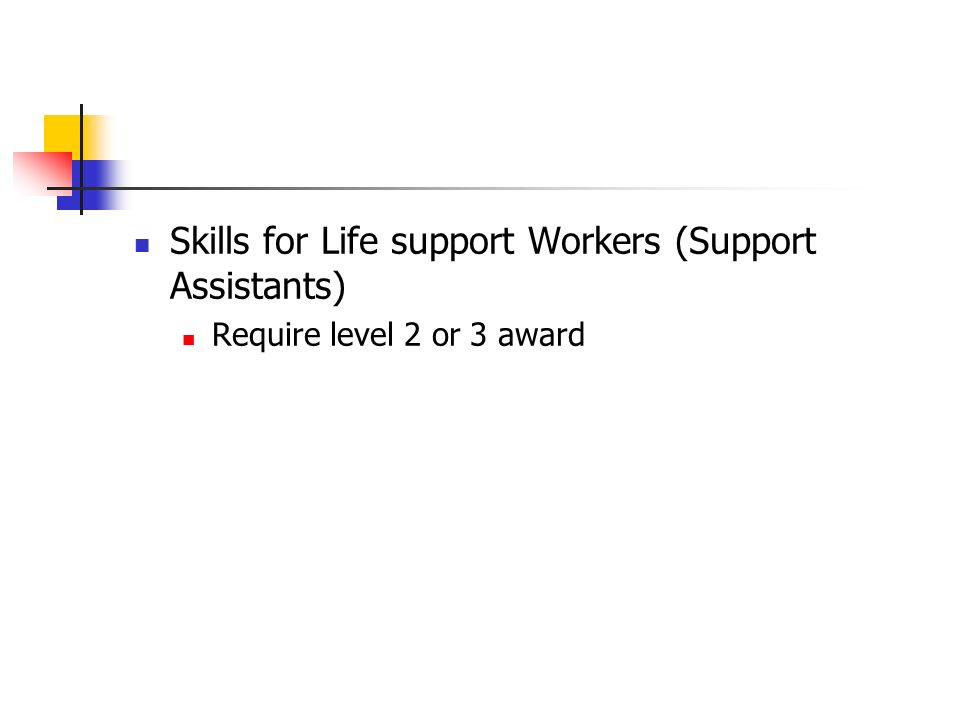 Skills for Life support Workers (Support Assistants) Require level 2 or 3 award