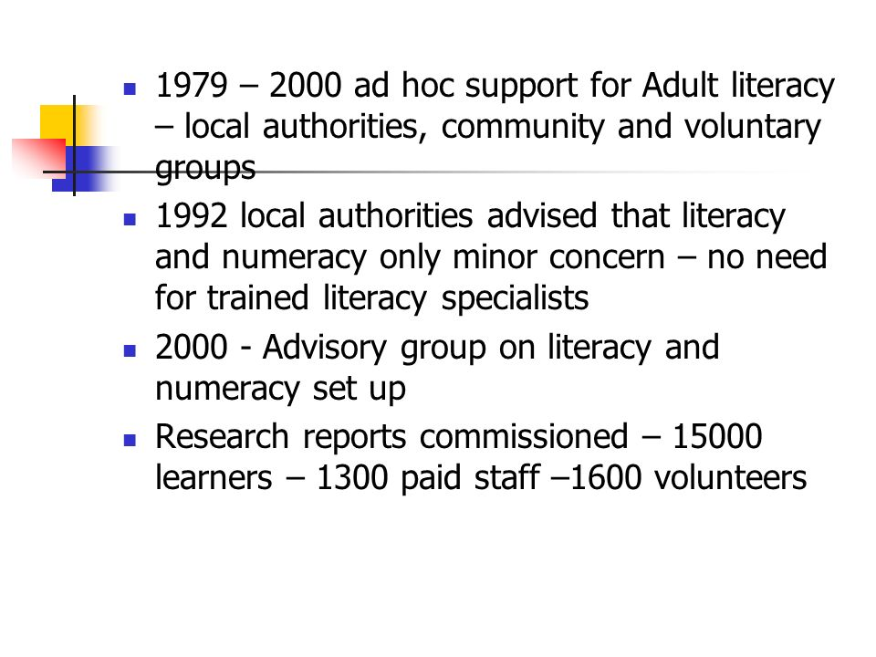 1979 – 2000 ad hoc support for Adult literacy – local authorities, community and voluntary groups 1992 local authorities advised that literacy and numeracy only minor concern – no need for trained literacy specialists Advisory group on literacy and numeracy set up Research reports commissioned – learners – 1300 paid staff –1600 volunteers