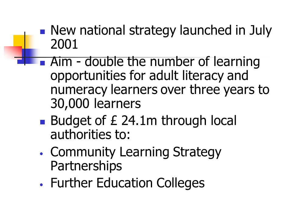 New national strategy launched in July 2001 Aim - double the number of learning opportunities for adult literacy and numeracy learners over three years to 30,000 learners Budget of £ 24.1m through local authorities to: Community Learning Strategy Partnerships Further Education Colleges