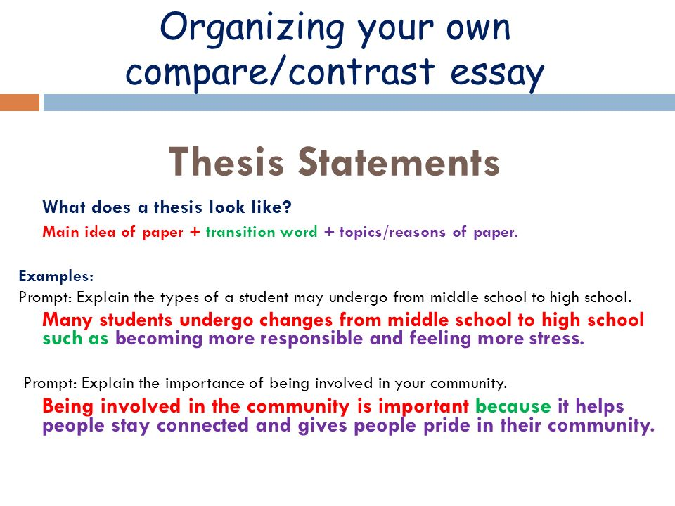 good thesis for compare/contrast essay Examples of introductions and thesis statements for comparison/contrast essay you may use the structure of any of the thesis statements, but you must write your.