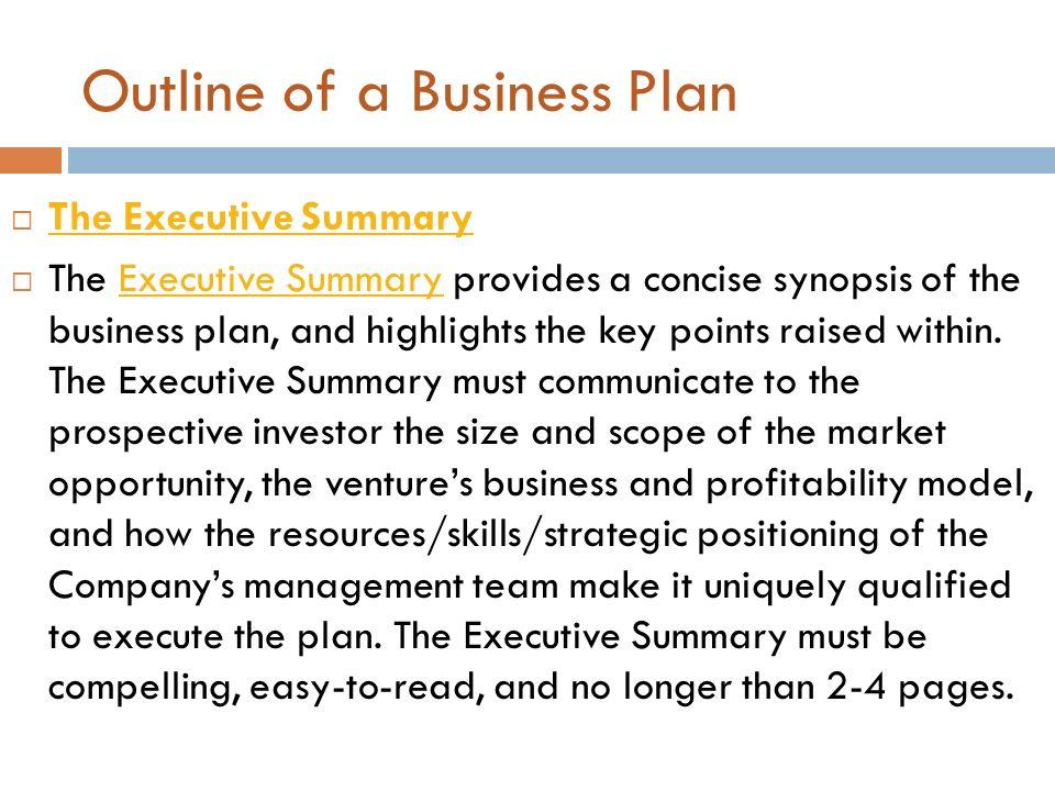 Summary of business plan