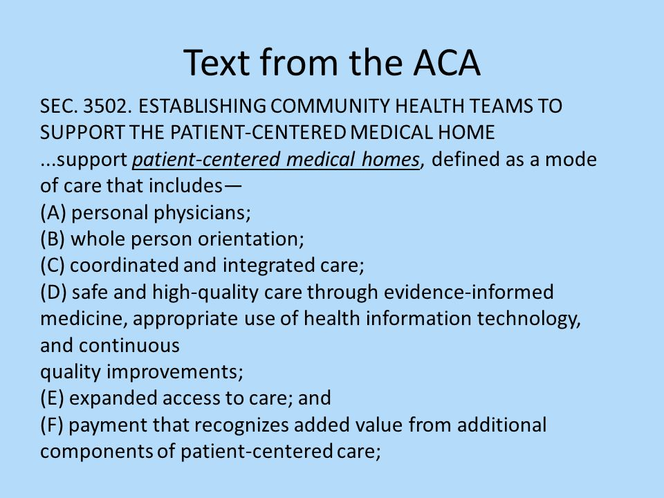 Text from the ACA SEC