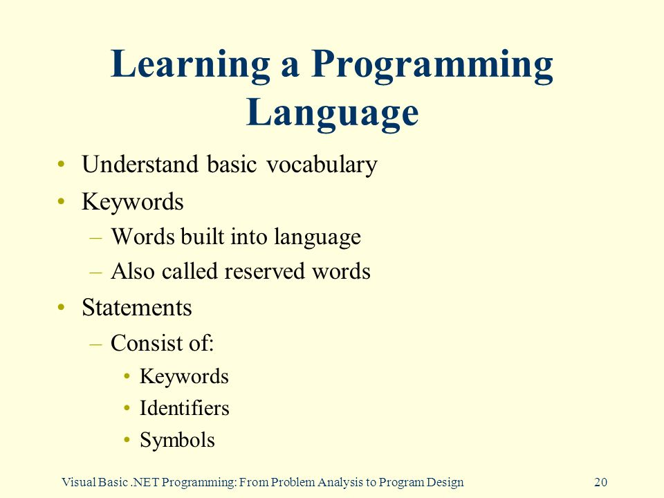 Visual Basic.NET Programming: From Problem Analysis to Program Design20 Learning a Programming Language Understand basic vocabulary Keywords –Words built into language –Also called reserved words Statements –Consist of: Keywords Identifiers Symbols