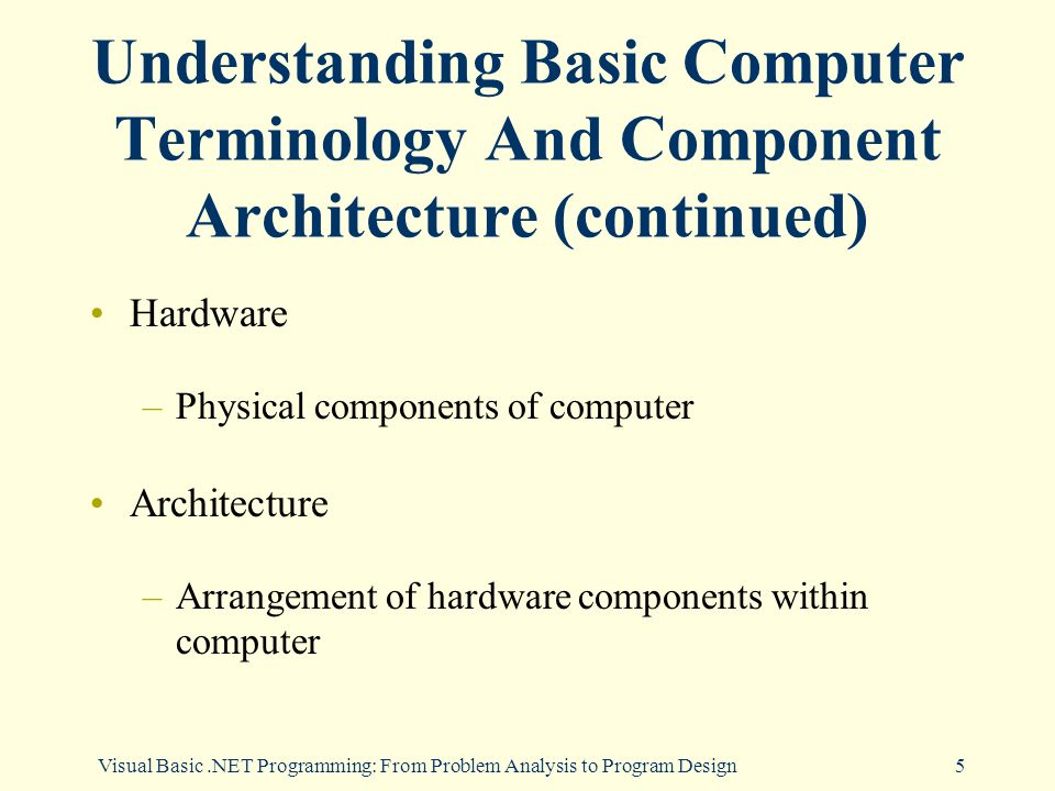 Visual Basic.NET Programming: From Problem Analysis to Program Design5 Understanding Basic Computer Terminology And Component Architecture (continued) Hardware –Physical components of computer Architecture –Arrangement of hardware components within computer