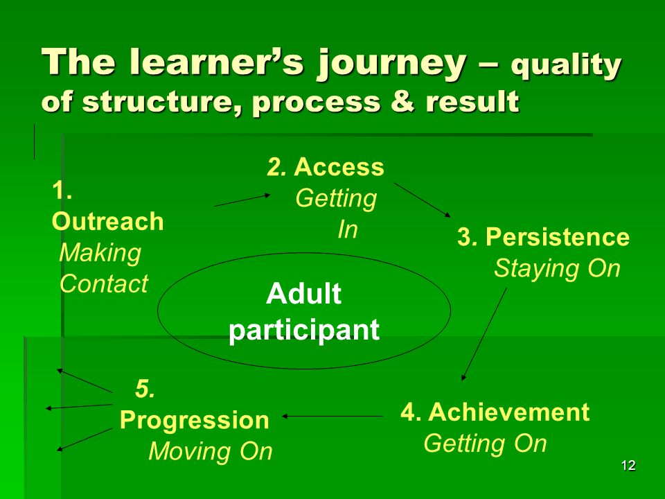 12 The learner's journey – quality of structure, process & result Adult participant 2.