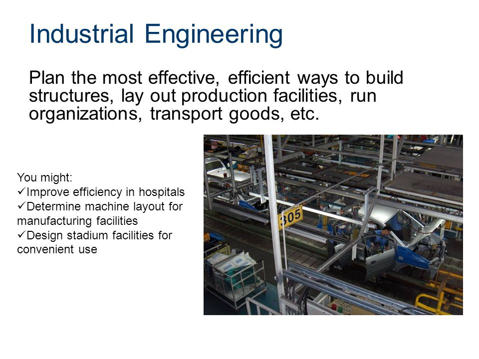 Industrial Engineering Plan the most effective, efficient ways to build structures, lay out production facilities, run organizations, transport goods, etc.