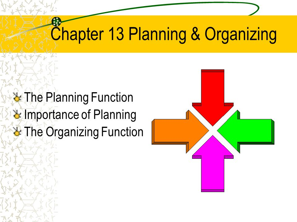 Chapter 13 Planning & Organizing The Planning Function Importance of Planning The Organizing Function