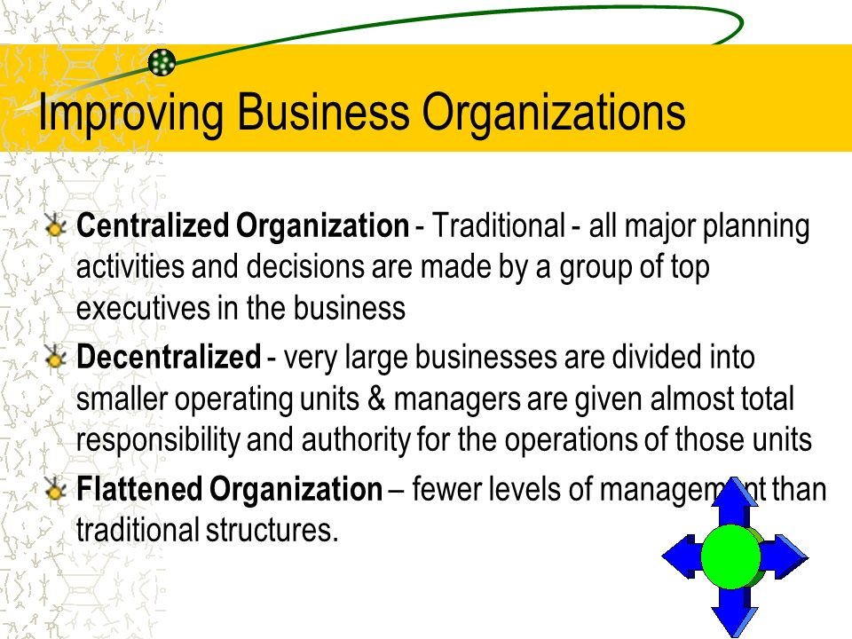 Improving Business Organizations Centralized Organization - Traditional - all major planning activities and decisions are made by a group of top execu