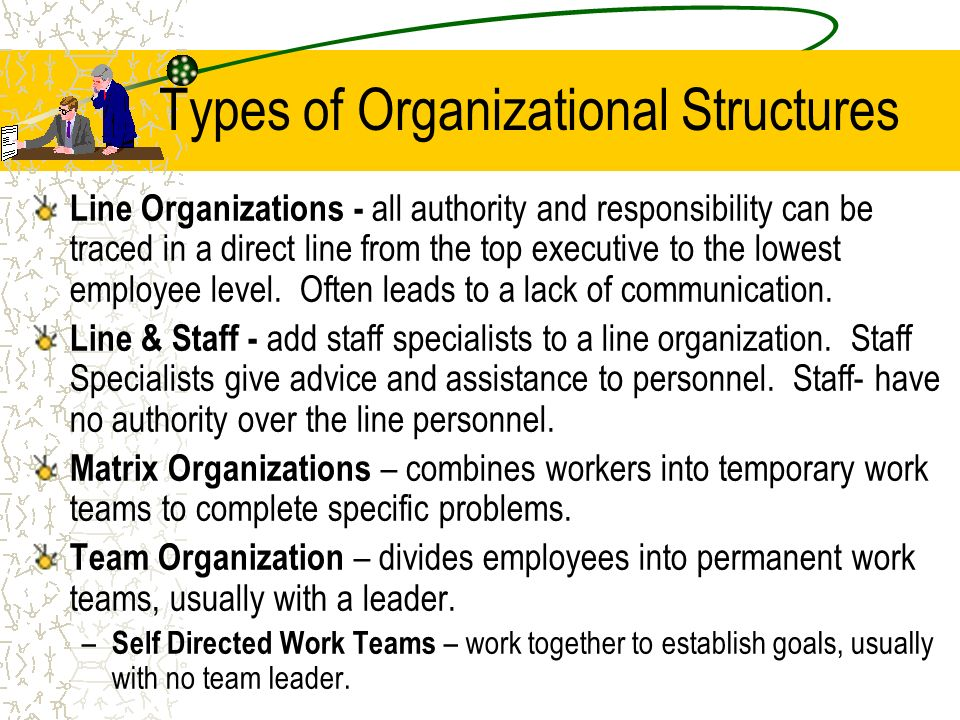 Types of Organizational Structures Line Organizations - all authority and responsibility can be traced in a direct line from the top executive to the