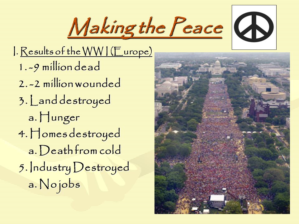 Making the Peace I. Results of the WW I (Europe) 1.