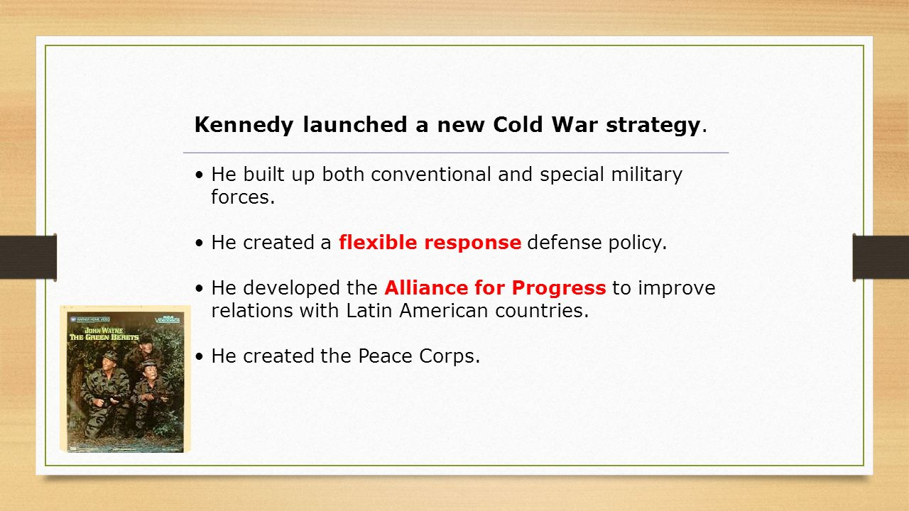 Kennedy launched a new Cold War strategy.