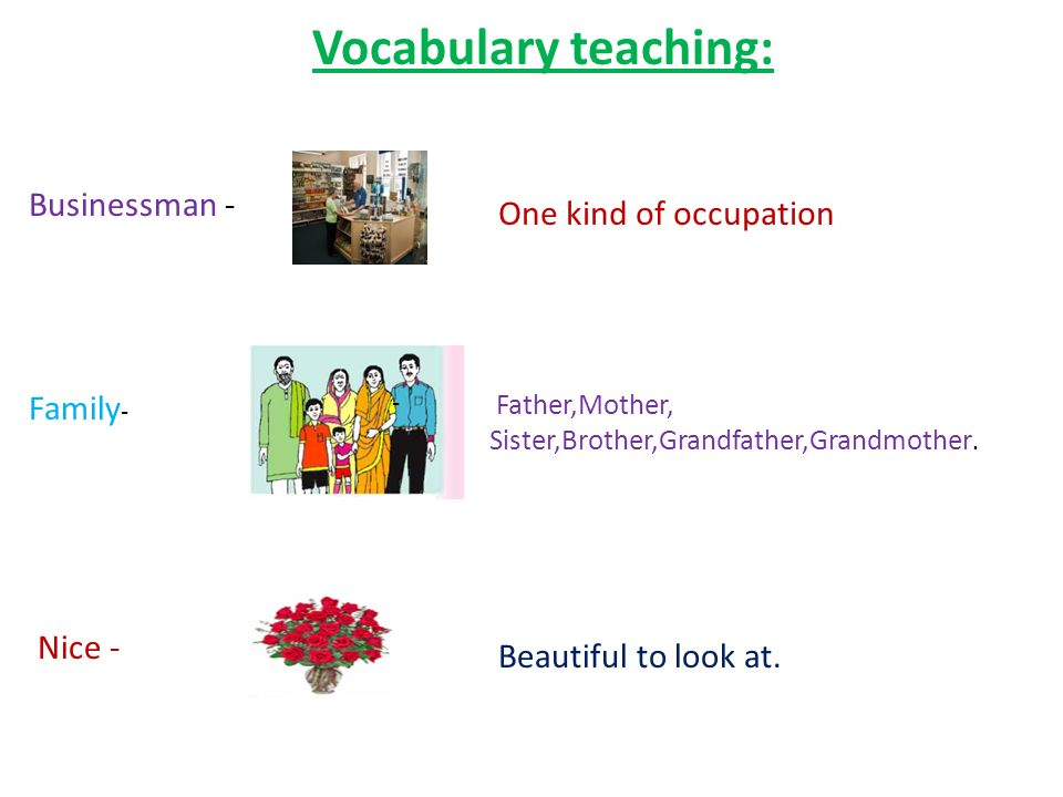 Vocabulary teaching: Businessman - Family - Nice - One kind of occupation - Beautiful to look at.