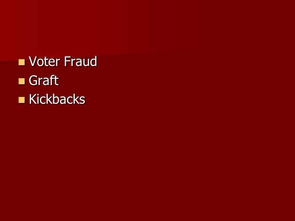 Voter Fraud Voter Fraud Graft Graft Kickbacks Kickbacks