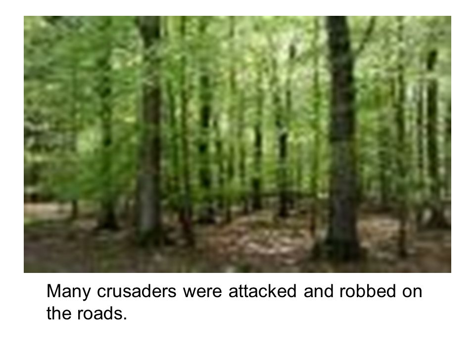Many crusaders were attacked and robbed on the roads.