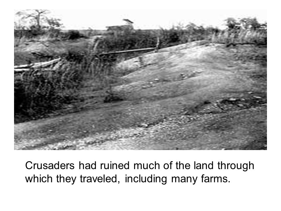 Crusaders had ruined much of the land through which they traveled, including many farms.