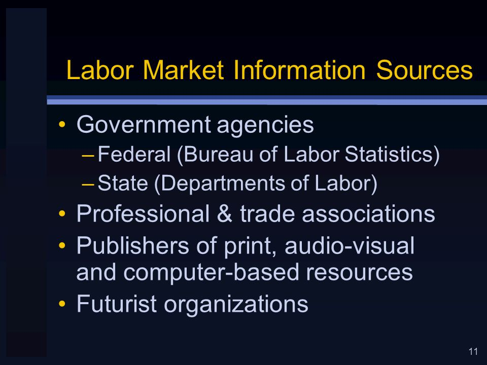 11 Labor Market Information Sources Government agencies –Federal (Bureau of Labor Statistics) –State (Departments of Labor) Professional & trade associations Publishers of print, audio-visual and computer-based resources Futurist organizations