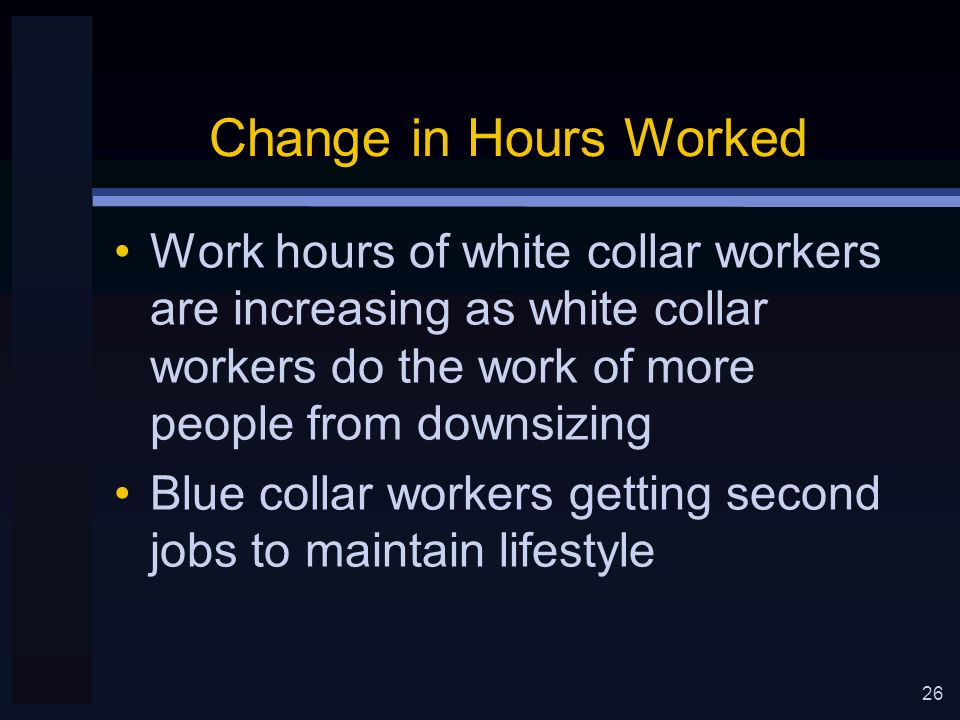 26 Change in Hours Worked Work hours of white collar workers are increasing as white collar workers do the work of more people from downsizing Blue collar workers getting second jobs to maintain lifestyle