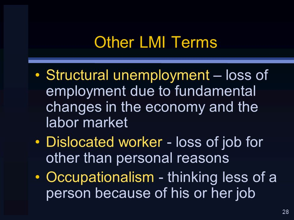 28 Other LMI Terms Structural unemployment – loss of employment due to fundamental changes in the economy and the labor market Dislocated worker - loss of job for other than personal reasons Occupationalism - thinking less of a person because of his or her job