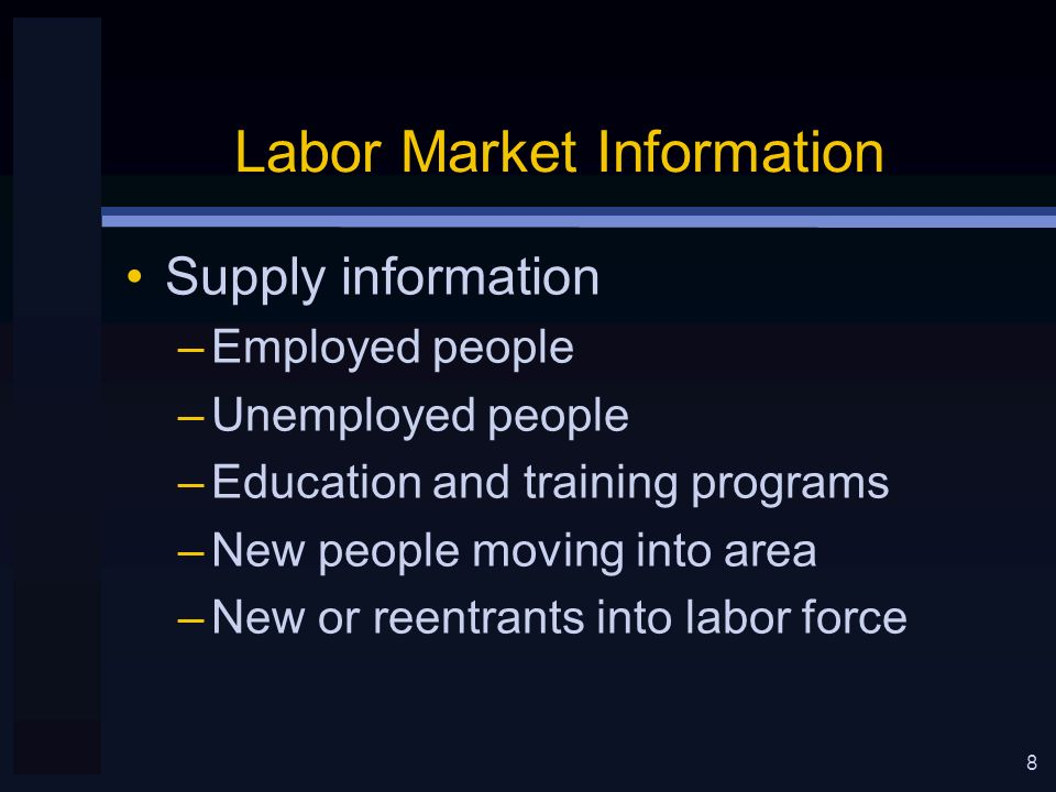 8 Labor Market Information Supply information –Employed people –Unemployed people –Education and training programs –New people moving into area –New or reentrants into labor force