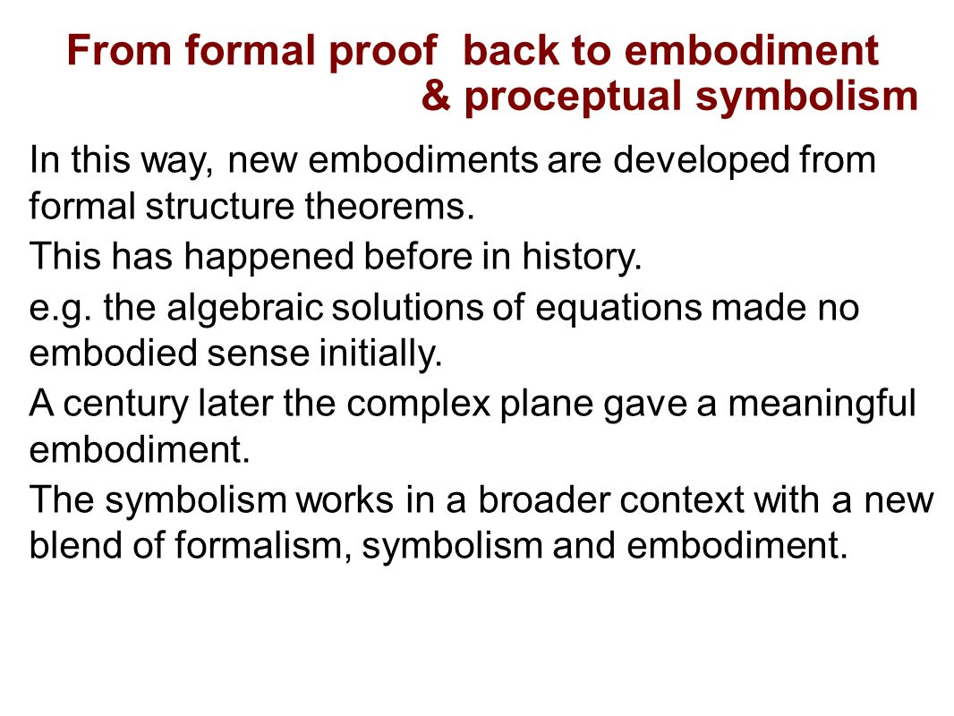 How individuals develop advanced mathematical thinking david tall from formal proof back to embodiment proceptual symbolism in this way new embodiments are buycottarizona Choice Image