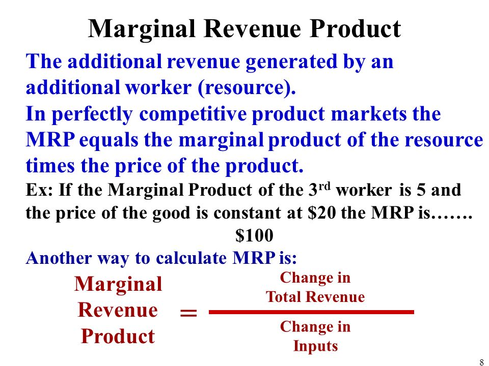 The additional revenue generated by an additional worker (resource).
