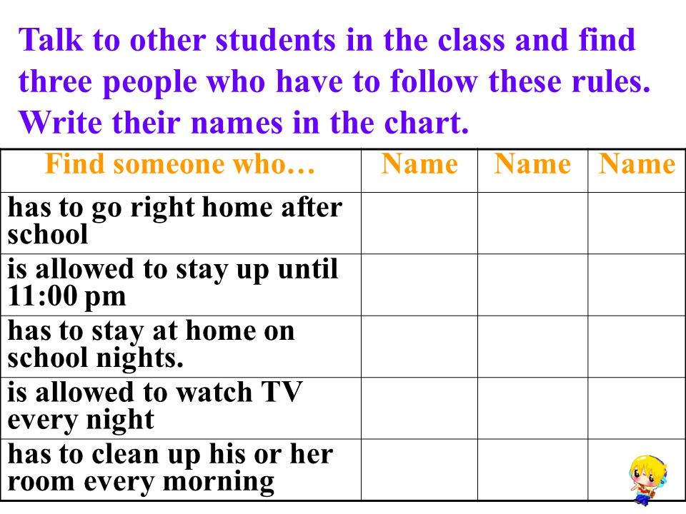 Talk to other students in the class and find three people who have to follow these rules.