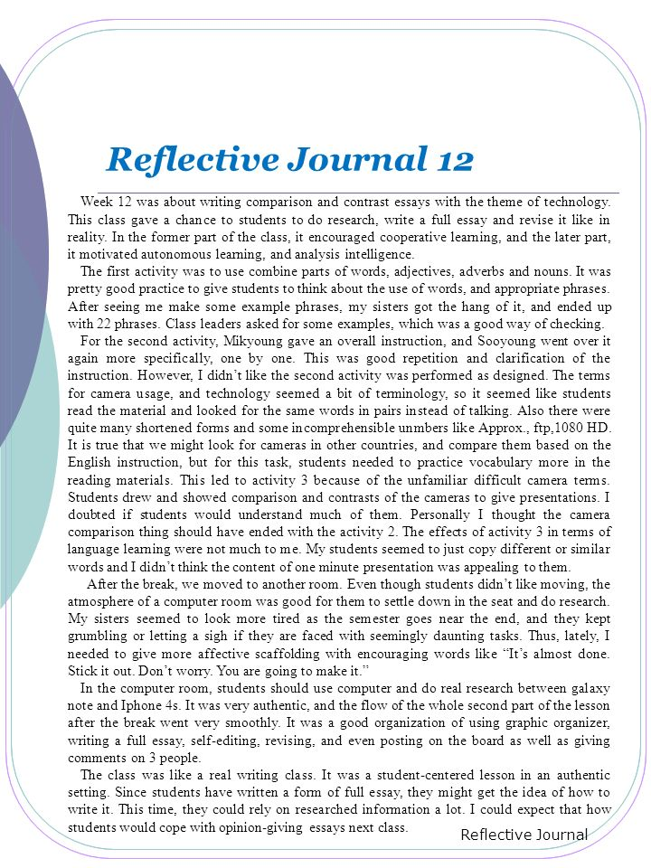 reflective journal 3 essay Reflection journals what is a reflection journal journal writing has become a very popular educational tool – so much so that when one announces that students will be keeping a journal, a common groan often rises from the class.