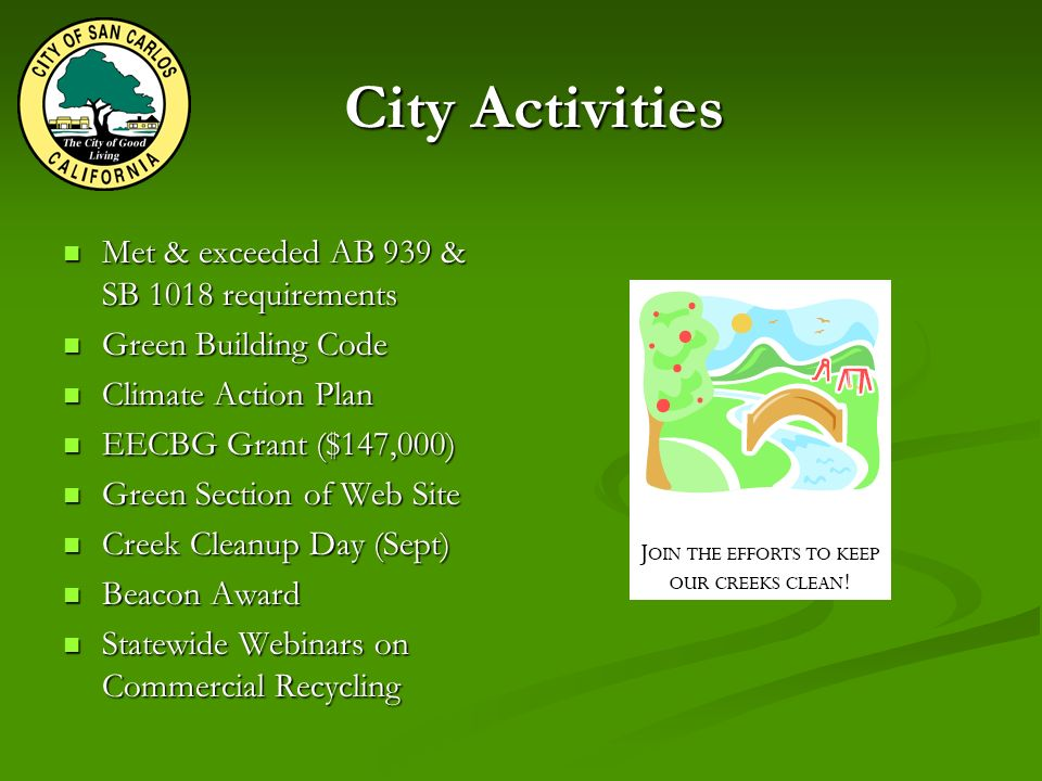 City Activities Met & exceeded AB 939 & SB 1018 requirements Met & exceeded AB 939 & SB 1018 requirements Green Building Code Green Building Code Climate Action Plan Climate Action Plan EECBG Grant ($147,000) EECBG Grant ($147,000) Green Section of Web Site Green Section of Web Site Creek Cleanup Day (Sept) Creek Cleanup Day (Sept) Beacon Award Beacon Award Statewide Webinars on Commercial Recycling Statewide Webinars on Commercial Recycling