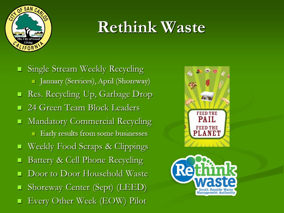 Rethink Waste Single Stream Weekly Recycling Single Stream Weekly Recycling January (Services), April (Shoreway) January (Services), April (Shoreway) Res.