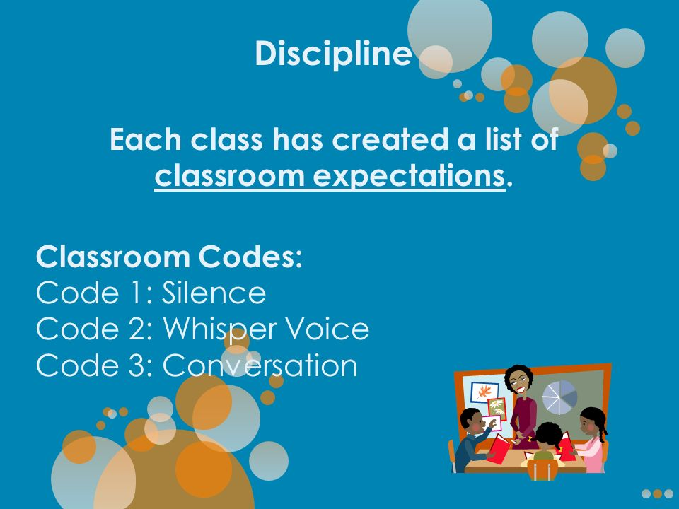 Discipline Each class has created a list of classroom expectations.