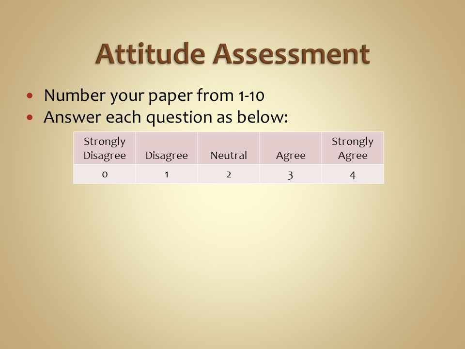 Number your paper from 1-10 Answer each question as below: Strongly DisagreeDisagreeNeutralAgree Strongly Agree 01234