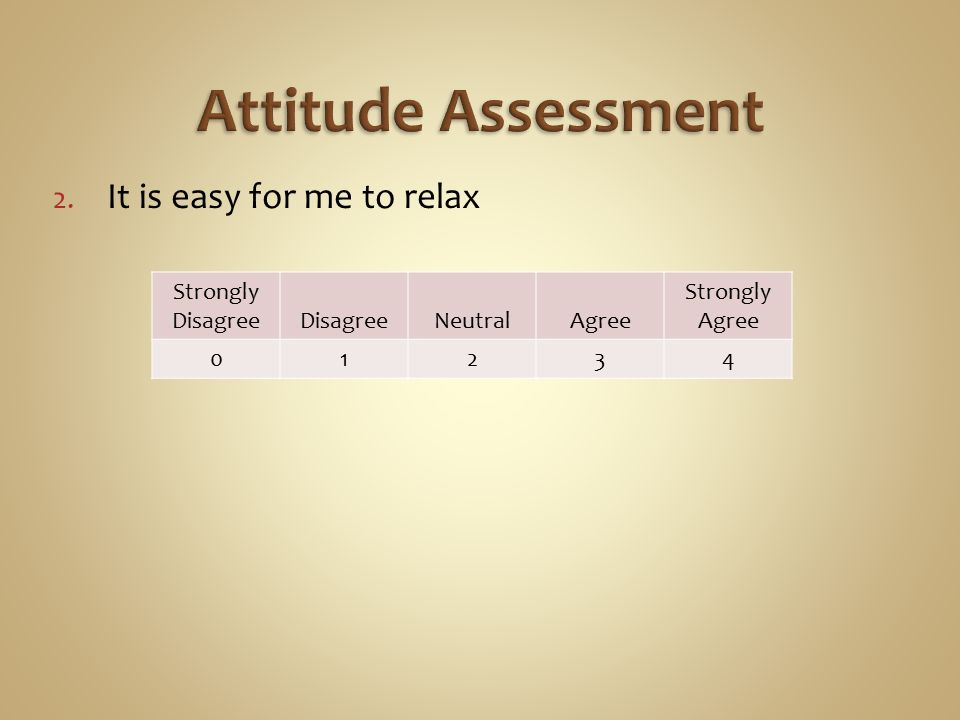 2. It is easy for me to relax Strongly DisagreeDisagreeNeutralAgree Strongly Agree 01234