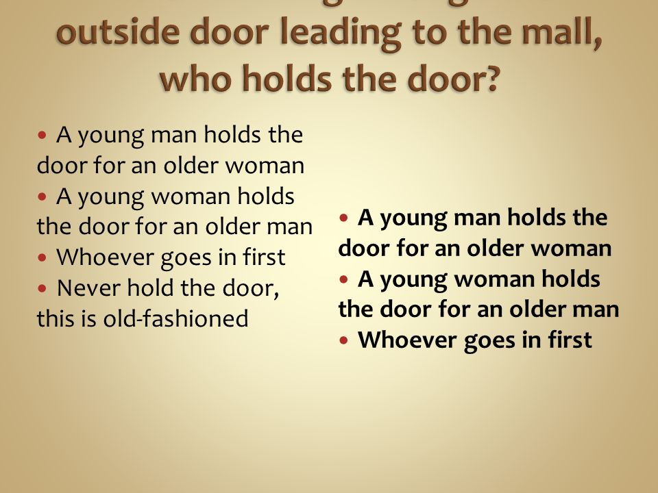 A young man holds the door for an older woman A young woman holds the door for an older man Whoever goes in first Never hold the door, this is old-fashioned A young man holds the door for an older woman A young woman holds the door for an older man Whoever goes in first
