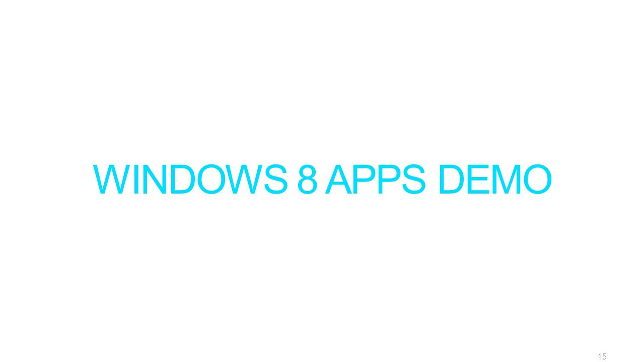 WINDOWS 8 APPS DEMO 15